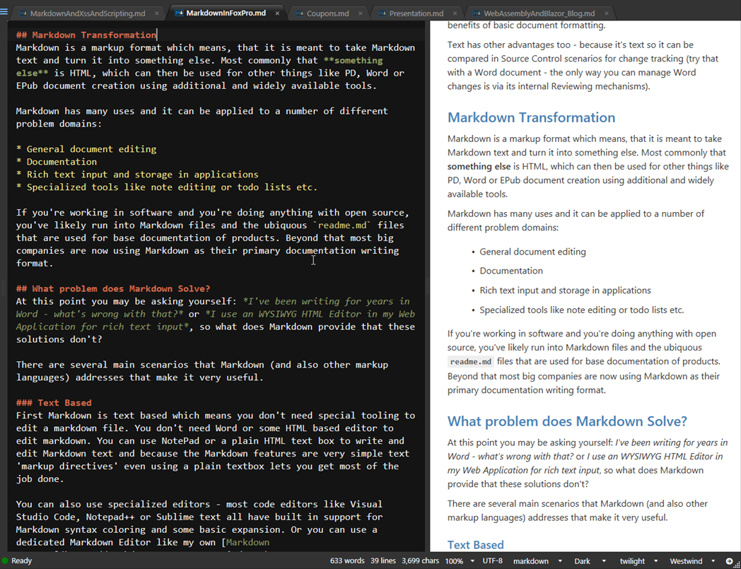 Marking up the World with Markdown and FoxPro