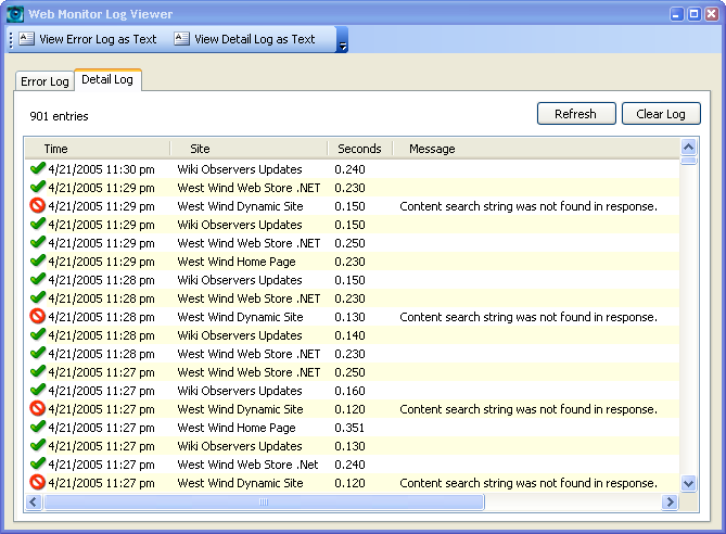 Web Monitor Log Viewer - West Wind Web Monitor