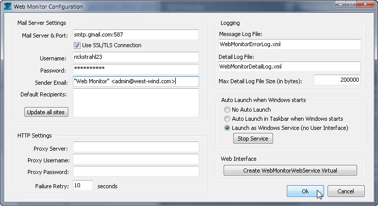 Web Monitor Configuration Form - West Wind Web Monitor